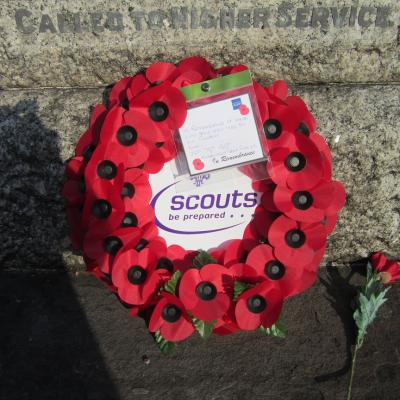 Novemember 2014 Rememberance Wreath at the foot of the War Memorial, laid on behalf of the Kingswood Scout Groups.